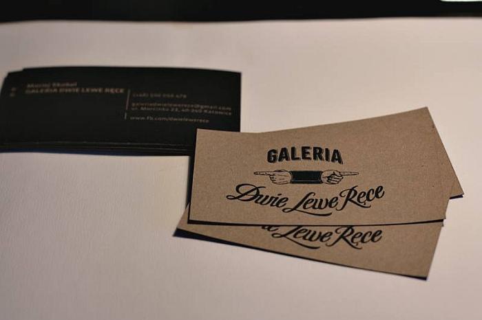 Pierwsze wizytówki Galerii wykonane na surowym papierze ekologicznym