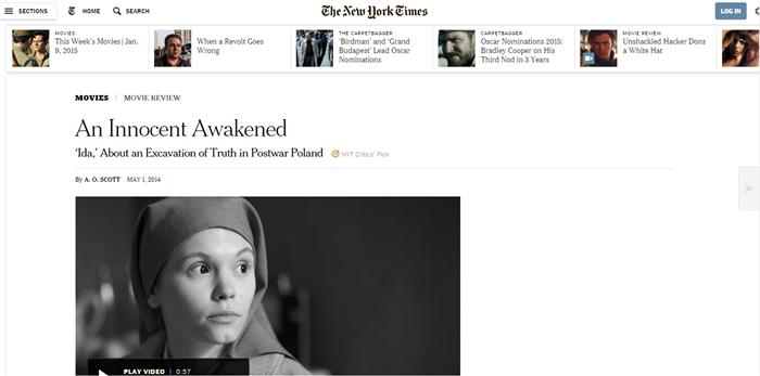 """recenzja """"Idy"""" na stronie """"New York Timesa"""""""