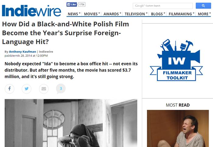 """artykuł o """"Idzie"""" w serwisie  Indiewire"""