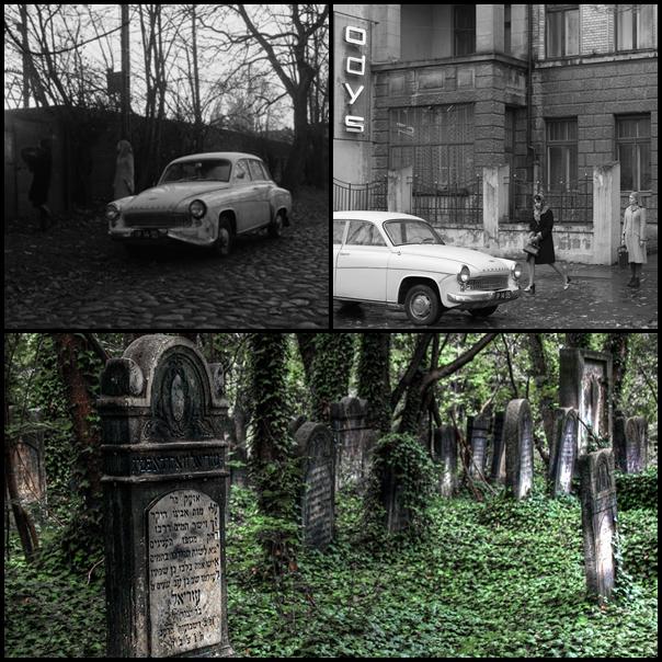 1. cmentarz żydowski w Łodzi / kadr z filmu 2. kamienica przy Dowborczyków / kadr z filmu 3. cmentarz żydowski / fot. Maciek Kawczyński