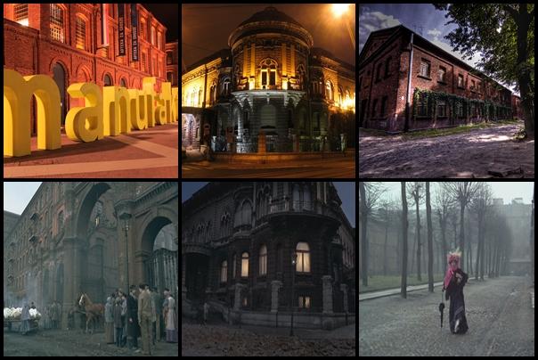 1. Manufaktura u góry: wygląd współczesny / fot. Mariusz Cieszewski (na licencji Creative Commons – Uznanie autorstwa 3.0 Polska (CC BY 3.0 PL) http://creativecommons.org/licenses/by/3.0/pl) na dole: kadr z filmu 2. Akademia Muzyczna u góry: wygląd współczesny / fot. Jakub Zasina (na licencji Creative Commons – Uznanie autorstwa 3.0 Polska (CC BY 3.0 PL) http://creativecommons.org/licenses/by/3.0/pl) na dole: kadr z filmu 3. Księży Młyn u góry: wygląd współczesny / fot. Maciek Kawczyński (na licencji Creative Commons – Uznanie autorstwa 3.0 Polska (CC BY 3.0 PL) http://creativecommons.org/licenses/by/3.0/pl) na dole: kadr z filmu