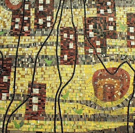 Fragment mozaiki na budynku Teatru Małego w Tychach. Projekt Janusz Włodarczyk. Realizacja Janusz Włodarczyk i Franciszek Wyleżuch, 1964. Fot. Patryk Oczko