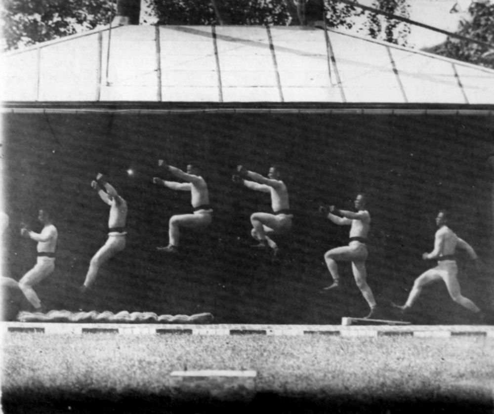 Skaczący mężczyzna na chronofotografii Mareya (1886)