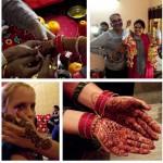 1. Ceremonia nakładania pannie młodej ślubnych bransoletek  2. Panna młoda z wujkiem, głową rodziny Sharma  3. Kornelia ze świeżo nałożoną henną  4. Henna na dłoniach na drugi dzień