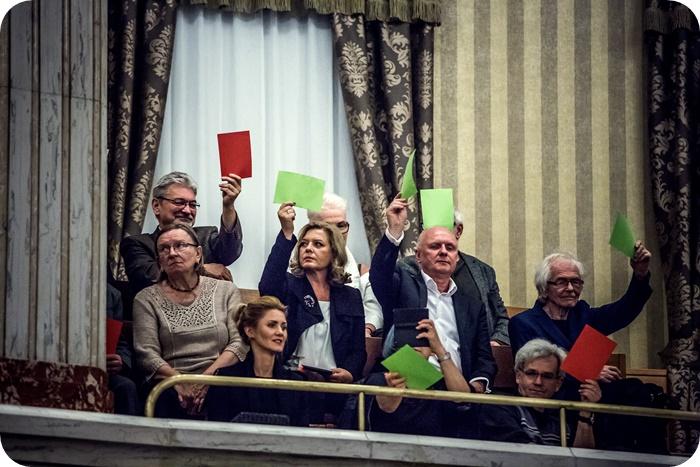 """premiera / """"TERROR"""" F. von Schirach / odtworzenie procesu s¹dowego w Sali Sejmu Œl¹skiego / fot. P. Jendroska / czerwiec 2017"""