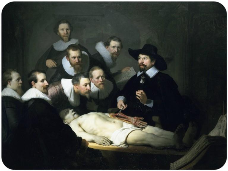 Rembrandt, Lekcja anatomii doktora Tulpa, 1632, źródło: wikicommons