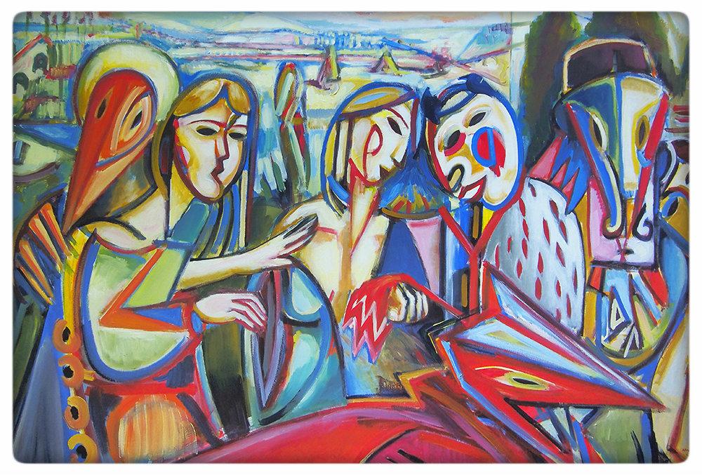 """Maciej Cieśla, Fauny w plenerze, """"Wiosenne zaloty faunów"""", 150 x 100 cm, materiały dzięki uprzejmości artysty"""