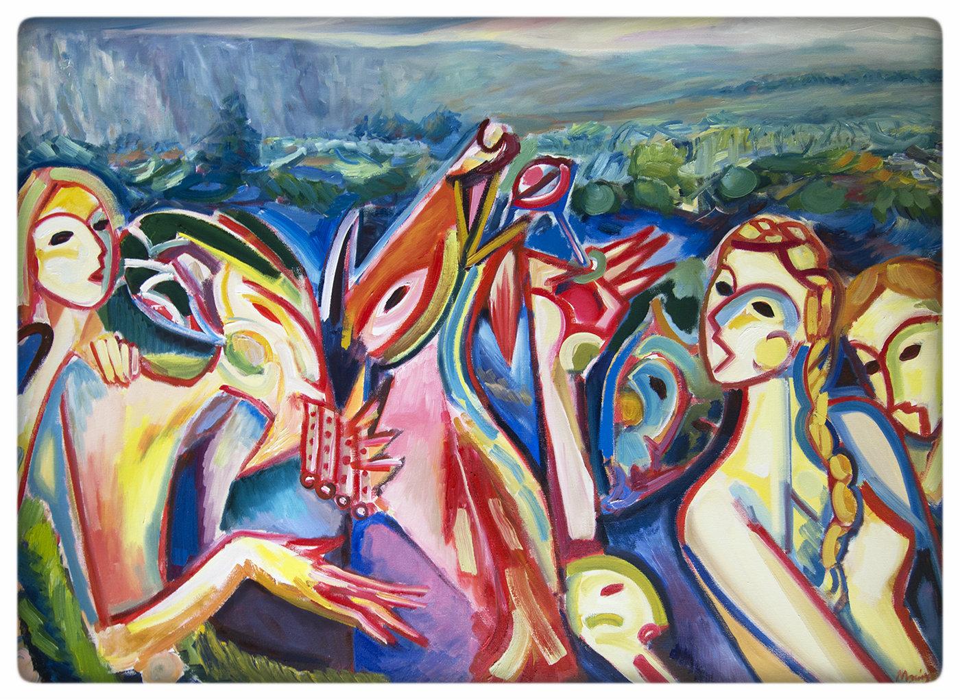 """Maciej Cieśla, """"Jagoda z koleżankami upiła Fauny i prowadzi ich w Karkonosze"""", 140 x 100 cm, olej, materiały dzięki uprzejmości artysty"""