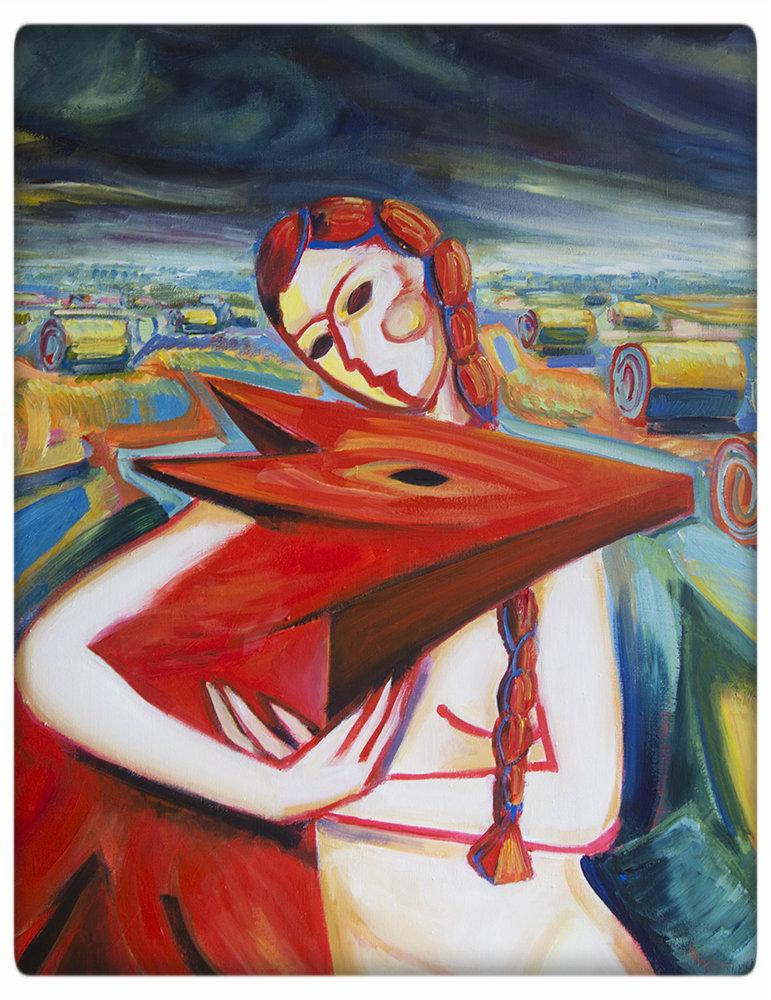 """Maciej Cieśla, """"Dziewczyna i czort na polu, chmury burzowe"""", 100 x 70 cm, materiały dzięki uprzejmości artysty"""